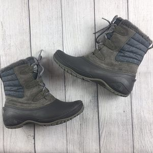 The North Face gray winter boots faux fur size 8.5